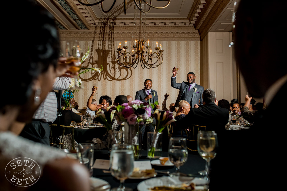 Bride and Groom Toast at the Athletic Club of Columbus